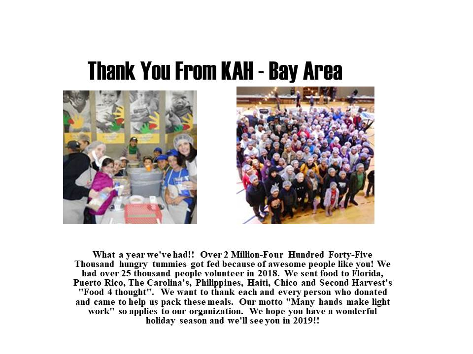 Thank You From KAH Bay Area
